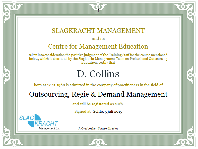 Certificaat training management methoden bij outsourcing